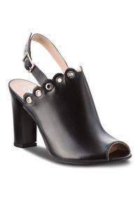 Czarne sandały Oleksy z aplikacjami, casualowe, na co dzień