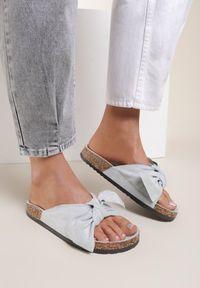 Renee - Niebieskie Klapki Saraia. Okazja: na co dzień. Nosek buta: otwarty. Kolor: niebieski. Sezon: lato. Styl: casual