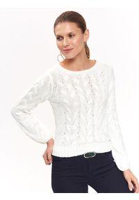 Biały sweter TOP SECRET na co dzień, krótki