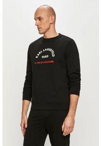 Czarna bluza nierozpinana Karl Lagerfeld z nadrukiem, bez kaptura, na co dzień, casualowa