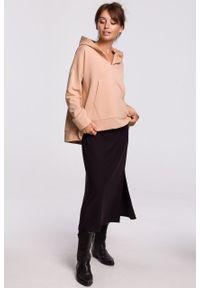 e-margeritka - Bluza bawełniana z kapturem beżowa - l/xl. Okazja: na co dzień. Typ kołnierza: kaptur. Kolor: beżowy. Materiał: bawełna. Długość: krótkie. Styl: casual