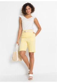 Bermudy bonprix żółty cytrynowy melanż. Kolor: żółty. Wzór: melanż