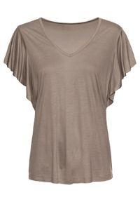 Shirt z rękawami z falbanami bonprix brunatny. Kolor: brązowy. Długość rękawa: krótki rękaw. Długość: krótkie