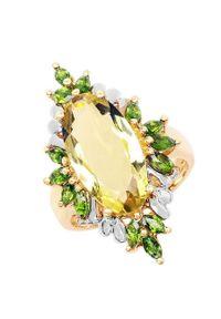 Braccatta - CELIA Srebrny pierścionek lemon topaz koktajlowy. Materiał: srebrne. Kolor: srebrny. Wzór: aplikacja. Kamień szlachetny: topaz