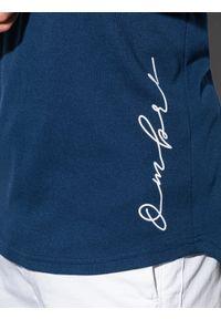 Ombre Clothing - T-shirt męski bawełniany z nadrukiem S1387 - granatowy - XXL. Kolor: niebieski. Materiał: bawełna. Wzór: nadruk
