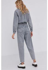 Answear Lab - Kombinezon jeansowy. Okazja: na co dzień. Kolor: szary. Materiał: jeans. Długość rękawa: długi rękaw. Długość: długie. Styl: wakacyjny