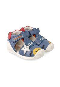 Niebieskie sandały Biomecanics na rzepy, z okrągłym noskiem