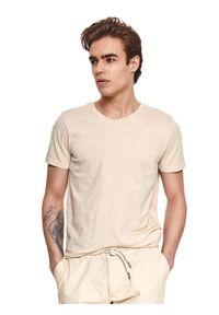 Beżowy t-shirt TOP SECRET z krótkim rękawem, gładki, krótki