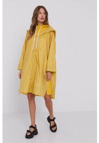 MAX&Co. - Długa bluza z dołączoną peleryną. Typ kołnierza: kaptur. Kolor: żółty. Materiał: dzianina. Długość rękawa: długi rękaw. Długość: długie