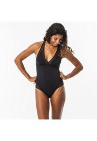 OLAIAN - Kostium kąpielowy jednoczęściowy ISA damski. Kolor: czarny. Materiał: poliester, poliamid, materiał, elastan
