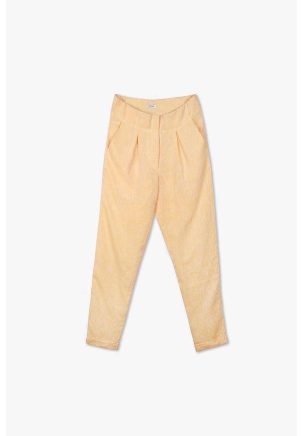 Żółte spodnie VEVA wakacyjne, do pracy