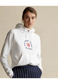 Ralph Lauren - RALPH LAUREN - Biała bluza z kapturem. Okazja: na co dzień. Typ kołnierza: kaptur. Kolor: biały. Materiał: bawełna, jeans. Wzór: napisy, nadruk. Sezon: wiosna. Styl: klasyczny, casual