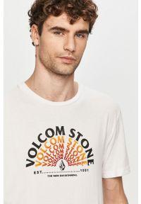 Biały t-shirt Volcom na co dzień, casualowy, z nadrukiem