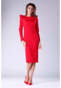Czerwona sukienka wizytowa Nommo z falbankami