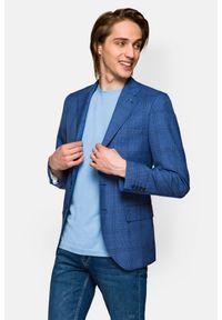 Lancerto - Marynarka Niebieska w Kratę Donegal 2. Kolor: niebieski. Materiał: tkanina, wełna, jeans, poliester. Wzór: kolorowy, ze splotem. Sezon: lato, wiosna