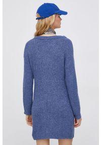 Jacqueline de Yong - Sukienka. Okazja: na co dzień. Kolor: niebieski. Materiał: dzianina. Długość rękawa: długi rękaw. Typ sukienki: proste. Styl: casual