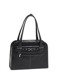 Czarna torebka MCKLEIN w kolorowe wzory, biznesowa, na ramię