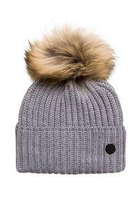 Szara czapka Bogner z aplikacjami, elegancka, na zimę