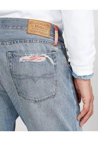 Ralph Lauren - RALPH LAUREN - Spodnie Sullivan Slim z łatami. Kolor: niebieski. Wzór: kolorowy, aplikacja. Styl: klasyczny