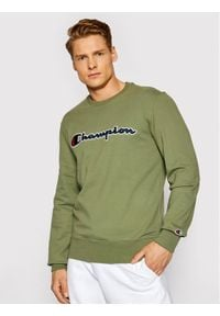 Champion Bluza Satin Script Logo 214188 Zielony Comfort Fit. Kolor: zielony