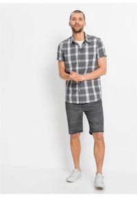 Koszula z krótkim rękawem bonprix dymny szary - biały w kratę. Kolor: szary. Długość rękawa: krótki rękaw. Długość: krótkie