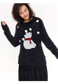 Czarny sweter TOP SECRET wizytowy, na zimę, długi, z aplikacjami