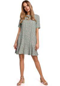 e-margeritka - Sukienka trapezowa z dekoltem na plecach - 2xl. Materiał: wiskoza, materiał. Wzór: kwiaty. Typ sukienki: trapezowe