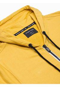 Ombre Clothing - Bluza męska rozpinana z kapturem B1152 - żółta - XXL. Typ kołnierza: kaptur. Kolor: żółty. Materiał: bawełna, poliester