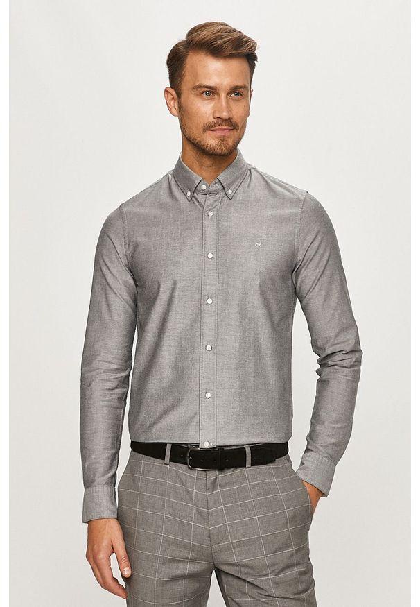 Szara koszula Calvin Klein casualowa, button down, na co dzień