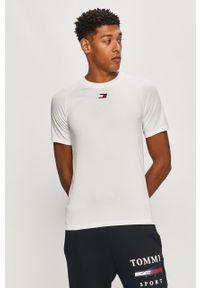 Biały t-shirt Tommy Sport z aplikacjami, na co dzień, raglanowy rękaw