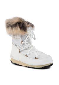 Białe śniegowce Moon Boot z aplikacjami, z cholewką