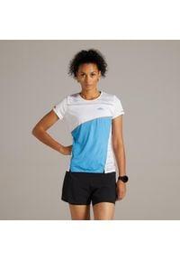 KIPRUN - Koszulka Do Biegania Damska Kiprun Light. Kolor: niebieski, wielokolorowy, turkusowy. Materiał: poliester, elastan, materiał. Sport: bieganie