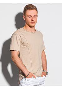 Ombre Clothing - T-shirt męski bawełniany S1378 - beżowy - XXL. Kolor: beżowy. Materiał: bawełna
