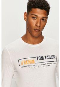 Biała koszulka z długim rękawem Tom Tailor Denim z okrągłym kołnierzem, na co dzień