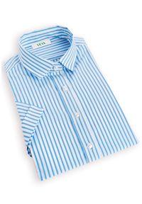Niebieska koszula VEVA na lato, casualowa, na co dzień