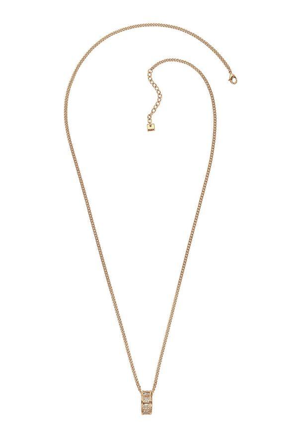 Złoty naszyjnik DKNY z kryształem, metalowy, z aplikacjami