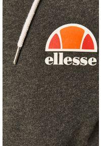 Szara bluza rozpinana Ellesse z aplikacjami, casualowa, na co dzień, z kapturem