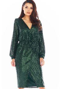 Awama - Cekinowa Sukienka Zakładana Kopertowo - Zielona. Kolor: zielony. Materiał: poliester. Typ sukienki: kopertowe
