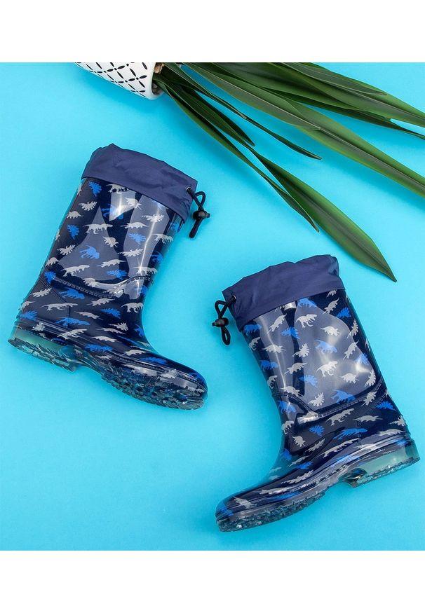 Niebieskie kalosze LANO w kolorowe wzory, z cholewką