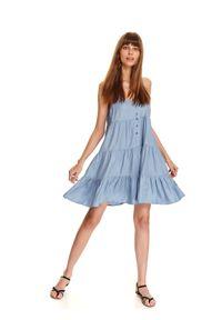 Niebieska sukienka TOP SECRET na ramiączkach, koszulowa