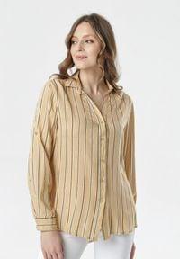 Born2be - Jasnobeżowa Koszula Fineborn. Kolor: beżowy. Materiał: jeans. Długość rękawa: długi rękaw. Długość: długie. Wzór: paski. Styl: klasyczny, elegancki