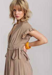 Renee - Beżowa Sukienka Jennidine. Kolor: beżowy
