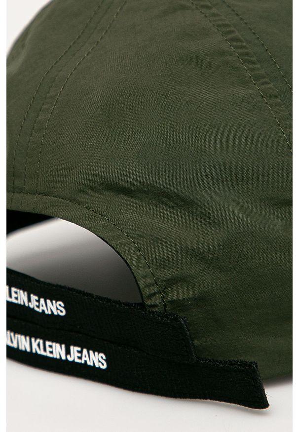 Zielona czapka z daszkiem Calvin Klein Jeans z nadrukiem