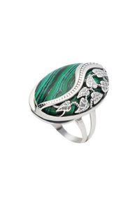 Srebrny pierścionek Polcarat Design srebrny, z malachitem