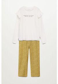 Żółta piżama Mango Kids gładkie