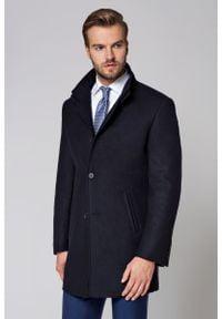 Niebieski płaszcz Lancerto klasyczny, ze stójką