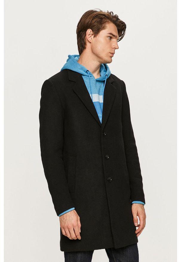 Czarny płaszcz PRODUKT by Jack & Jones na co dzień, bez kaptura, klasyczny