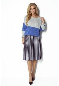 Fobya - Lazurowo-Szary Dwukolorowy Sweter z Bufiastym Rękawem. Kolor: niebieski, szary, wielokolorowy. Materiał: poliester, akryl, wełna, poliamid