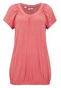 Shirt z dekoltem w serek, krótki rękaw bonprix rabarbarowy. Typ kołnierza: dekolt w serek. Kolor: różowy. Długość rękawa: krótki rękaw. Długość: krótkie