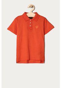 Pomarańczowy t-shirt polo Guess na co dzień, casualowy, gładki